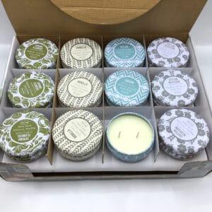 נרות ריחניים בקופסאות פח